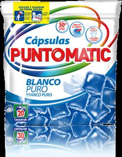 __ Cápsulas Puntomatic Blanco Puro 20 cápsulas __ Puntomatic lanza las primeras cápsulas especialmente formuladas para la ropa blanca y de colores claros. Puntomatic BLANCO PURO cuenta con los componentes específicamente pensados para alcanzar la máxima limpieza y luminosidad en los tejidos de nuestra colada de ropa blanca.